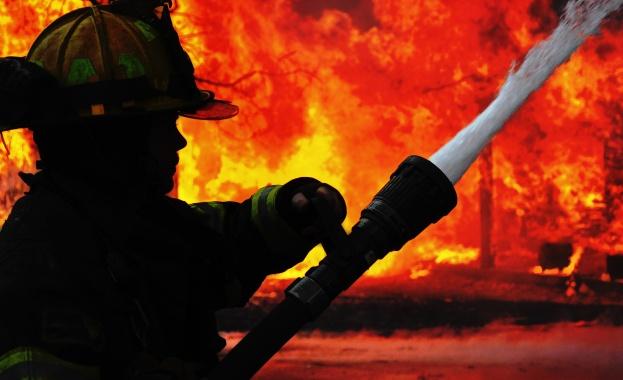 Десетки огнеборци се борят с голям пожар в Южна Гърция
