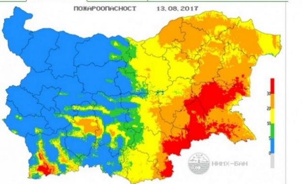 Пожароопасност в 6 области на страната