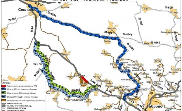 Ограничава се движението по път II-44 Драгановци – Габрово