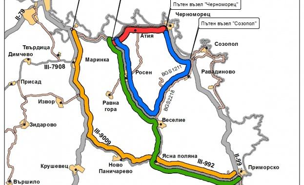 През нощта от 23 юли до 26 юли ще се ограничи движението по път II-99 Бургас - Царево за монтиране на пешеходния надлез при с. Атия