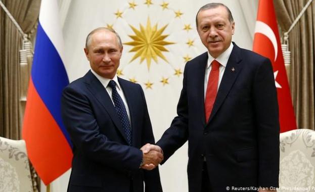 Президентите на Русия и Турция Владимир Путин и Реджеп Тайип