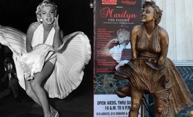 Статуя на Мерилин Монро в прословутата поза с развята бяла