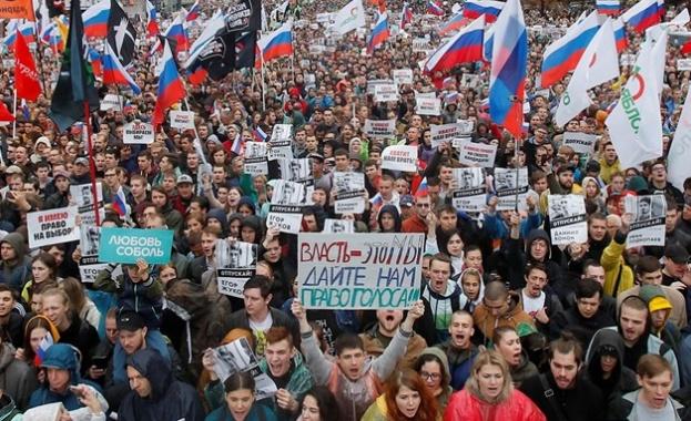 40 000 души излязоха на разрешен протест в Москва срещу