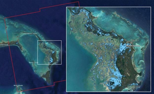 НАСА картографира наводненията на Бахамите след урагана Дориан
