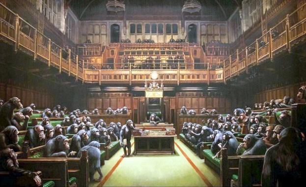 Картина на Банкси, изобразяваща Британския парламент, пълен с шимпанзета, ще