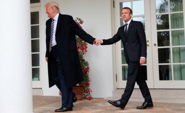 Френският президент Еманюел Макрон и американският му колега Доналд Тръмп
