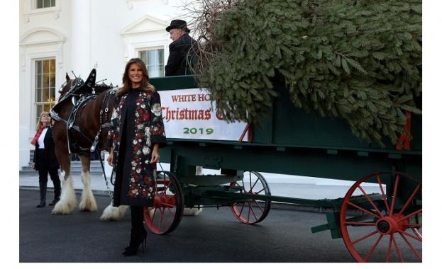 Снимка: Мелания посрещна коледното дърво в Белия дом във флорално палто D&G
