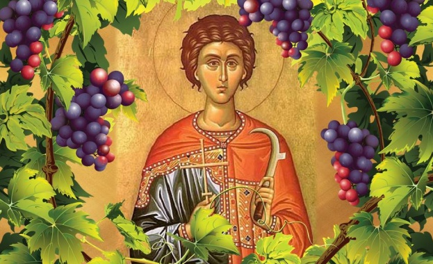 Житие на св. мъченик Трифон Св. Трифон Зарезан. Стенопис в