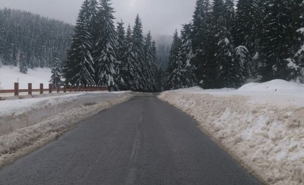 Обилен снеговалеж блокира трафика в прохода Рожен