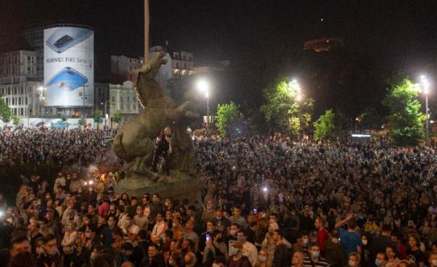 В Белград снощи се състоя протест срещу повторното въвеждане на