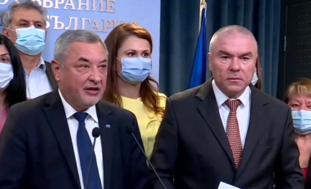 Лидерите на ВОЛЯ и НФСБ Веселин Марешки и Валери Симеонов